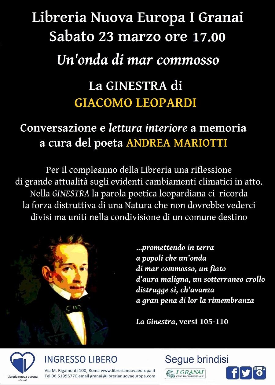 Lettura a memoria della Ginestra di Giacomo Leopardi parte di Andrea Mariotti