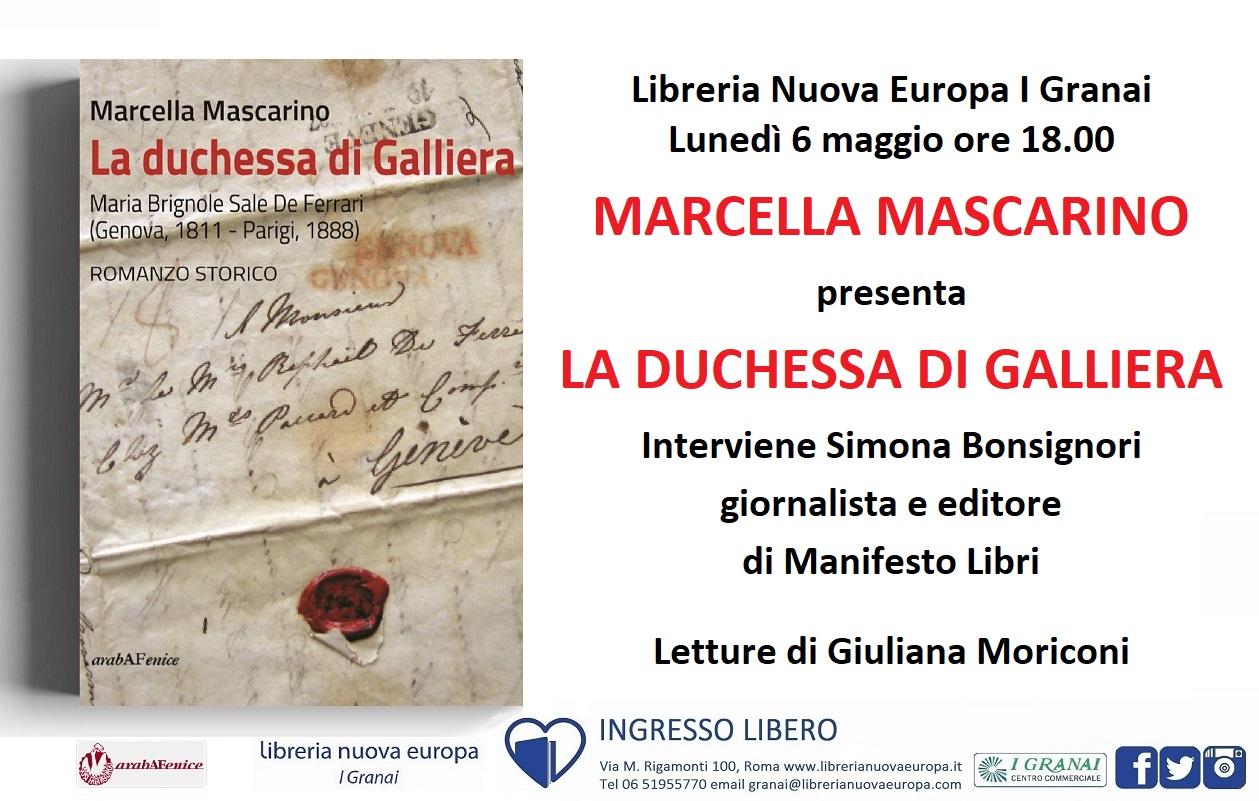 """Marcella Mascarino presenta il romanzo storico """"La Duchessa di Galliera"""""""